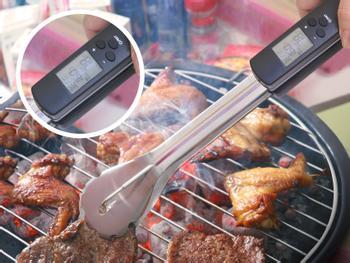 Grillzange aus Edelstahl mit Thermometer Schwarz